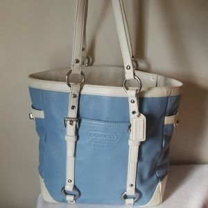 Coach leather tote purse blue white